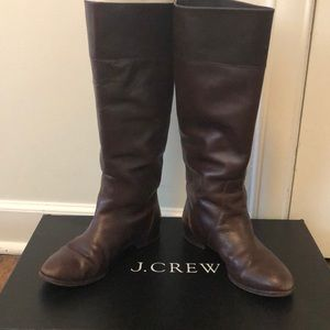 J crew tall soft chocolate brown leather boot 6.5